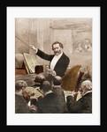 Illustration of Giuseppe Verdi Conducting in Paris by Corbis