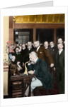 Alexander Graham Bell Making Telephone Call by Corbis