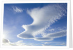 Dramatic lenticular clouds over mountains and sea, South Georgia Island by Corbis