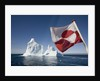 Greenland Flag on Arctic Umiaq Line Ferry by Corbis