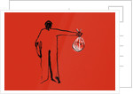 Figure holding a heart in a plastic bag by Corbis