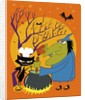 Black cat and old witch brewing a devious concoction by Corbis