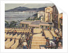 Illustration of Macaroni Drying in Italy by Norman Howard