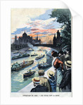 Illustration of Celebration on the Seine During the 1900 Paris Exposition by Corbis