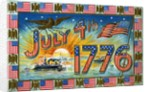 July 4th 1776 Postcard with Military Ships at Sunrise by Corbis