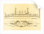 Birds-Eye and Profile Plans of the U.S. Battleship Connecticut by Corbis