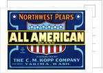 All American Brand Northwest Pears Fruit Crate Label by Corbis