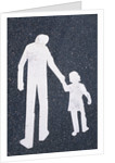 Father and Child Painted on Road by Corbis