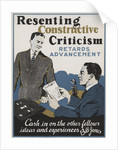 Resenting Constructive Criticism Retards Advancement Motivational Poster by Corbis