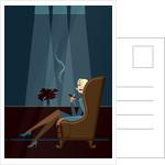 Businesswoman Smoking Cigar by Corbis