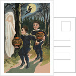 Halloween Postcard of Frightened Children by E.C. Banks