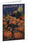 Halloween Postcard of Witch Chasing Boy by Bernhardt Wall