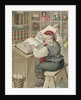 Christmas Postcard with Santa Checking Book of Names by Corbis