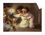 Christmas Postcard with Children Looking at Toys by Monique Martin