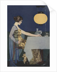 Illustration of Woman at Table with Lantern by Coles Phillips