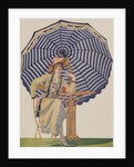 Illustration of Woman Sitting Under Striped Umbrella by Coles Phillips