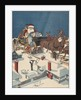 Illustration of Santa Checking His List in His Sleigh by Corbis
