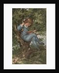 Postcard of Boy Reading in Tree by Corbis