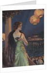 Illustration of Woman at Masked Ball by F.R. Harper