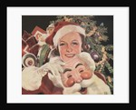 Illustration of Woman with Santa Claus Mask by Corbis