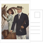 Royal Tailors Illustration of Man Walking Dog Past Woman with Horse by Corbis
