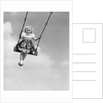 1950s Laughing Little Girl Swinging High On Outdoor Swing by Corbis
