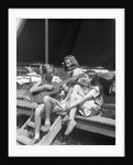 1930s Three Girls At Summer Camp Having Sing-Along One Playing Guitar by Corbis