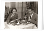 1950s Couple Man Woman Dining In Restaurant by Corbis