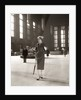 1950s Fashionable High Class Woman Alone Train Station Umbrella Waiting Lonely by Corbis