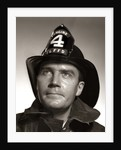 1950s Portrait Fireman Serious Expression Metal Fire Hard Hat Engine 4 by Corbis