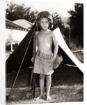 1950s Boy Playing Soldier Standing With Rifle Helmet Canteen Tent by Corbis