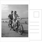 1950s Happy Couple Man Woman Riding Tandem Bike Bicycle Built For 2 by Corbis