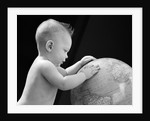 1940s Baby With Hands On Globe Looking At The Earth by Corbis