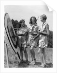 1930s 1940s Three Teen Girls Standing By Archery Target Bows Arrows by Corbis