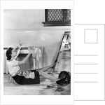 1940s Woman Housewife Falling From Step Ladder In Kitchen While Washing Window by Corbis