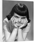 1950s Mad Angry Frustrated Girl Head Resting In Hands by Corbis