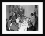 1940s 1950s 3 Generation Family Meal Dining Room Table Grandfather Carving Turkey by Corbis