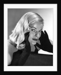 1950s Portrait Of Glamorous Woman With Long Black Gloved Hands Touching Cheek by Corbis