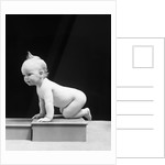 1930s 1940s Naked Baby Crawling On Wooden Box by Corbis