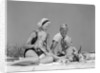 1970s 1960s Family Father Mother Twin Sons Playing In Sand On Beach Outdoor by Corbis