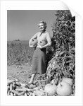 1950s 1960s Woman Standing By Corn Shock Holding A Pumpkin Under Each Arm by Corbis