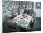 1950s Family Of 5 Saying Grace Before Thanksgiving Turkey Dinner Mother Father 3 Children by Corbis