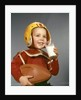 1950s 1960s Boy Drinking Glass Milk Wearing Football Helmet Shoulder Pads by Corbis