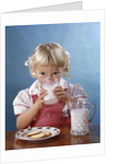 1950s 1960s Girl Drinking Milk Plate Cookies by Corbis