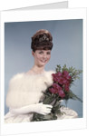 1960s Young Woman Wearing Crown White Fur Stole Gloves Holding Bouquet Of Red Roses by Corbis