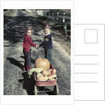 1950s Kids In Blue Jeans Pulling Red Wagon Full Of Pumpkins by Corbis