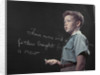 1950s Boy with Freckles At History Class Blackboard Writing Gettysburg Address With Chalk by Corbis