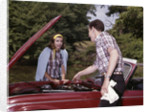 1960s Couple By Car With Hood Up Looking At Motor Outdoor Problem Breakdown by Corbis