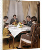 1960s 1970s Three Generation Family Saying Grace Prayer At Thanksgiving Dinner by Corbis
