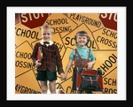 1950s Girl And Boy With Book Bag And Books Holding Hands Together In Front Of School by Corbis